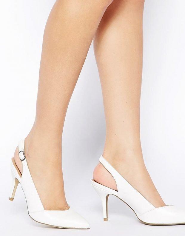 туфли с открытой пяткой белые на каблуке