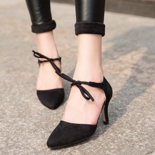 туфли с открытыми боками черные с завязочками