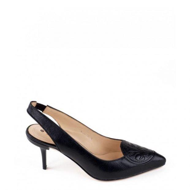 туфли с открытой пяткой черные лодочки