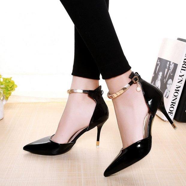 туфли с открытыми боками черные лодочки