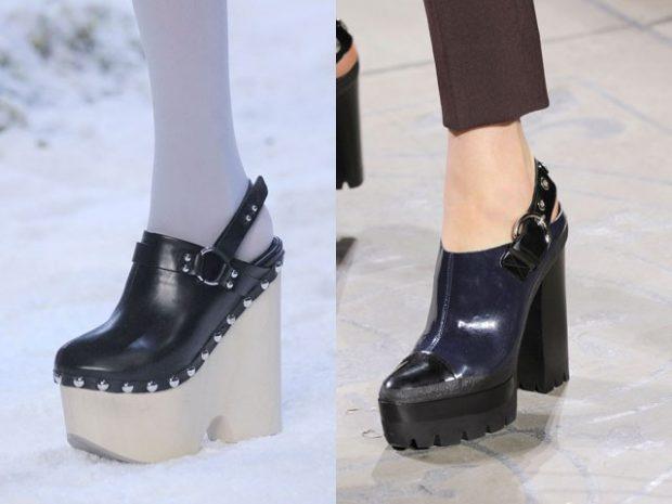 туфли с открытой пяткой на танкетке черные