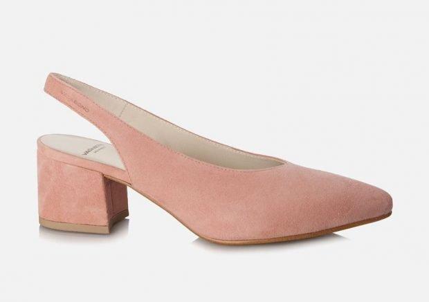 туфли с открытой пяткой розовые на невысоком каблуке
