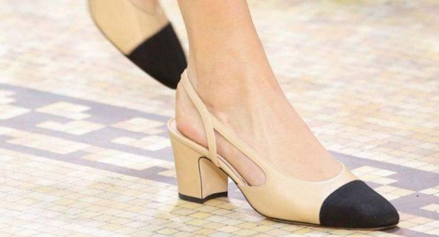 туфли с открытой пяткой бежевые с черным носком