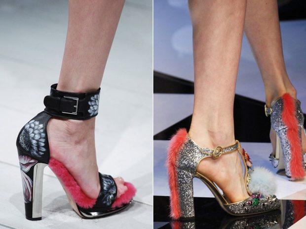 туфли с застежкой с открытыми боками черные с красным на толстом каблуке