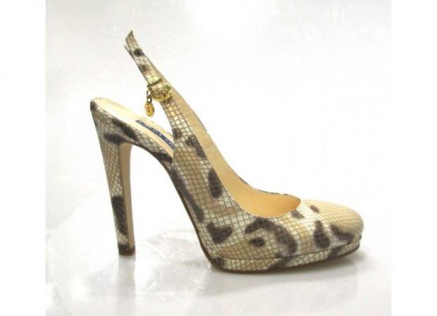 туфли с открытой пяткой в принт на каблуке