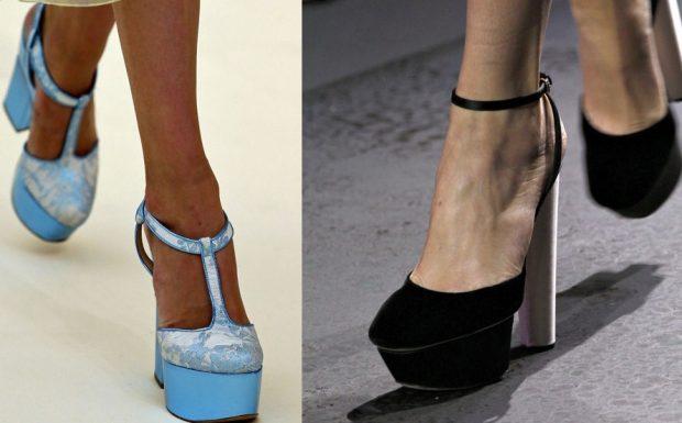 туфли с открытыми боками синие черные на высоком каблуке