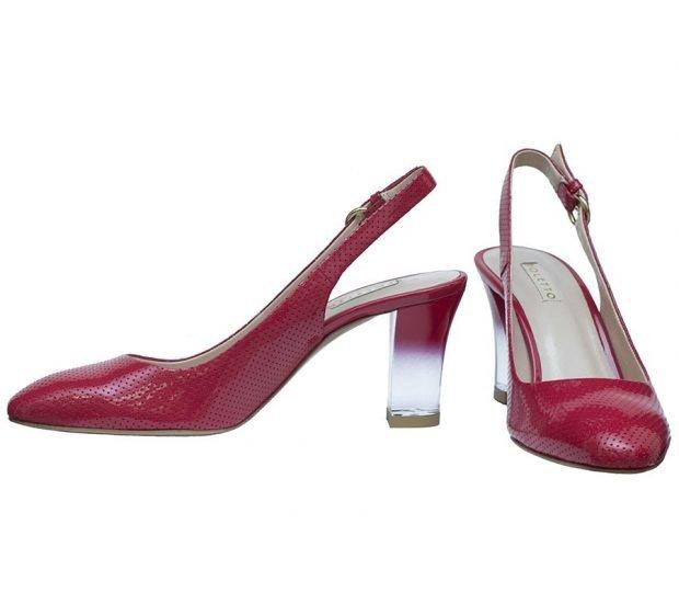 туфли с открытой пяткой красные лодочки