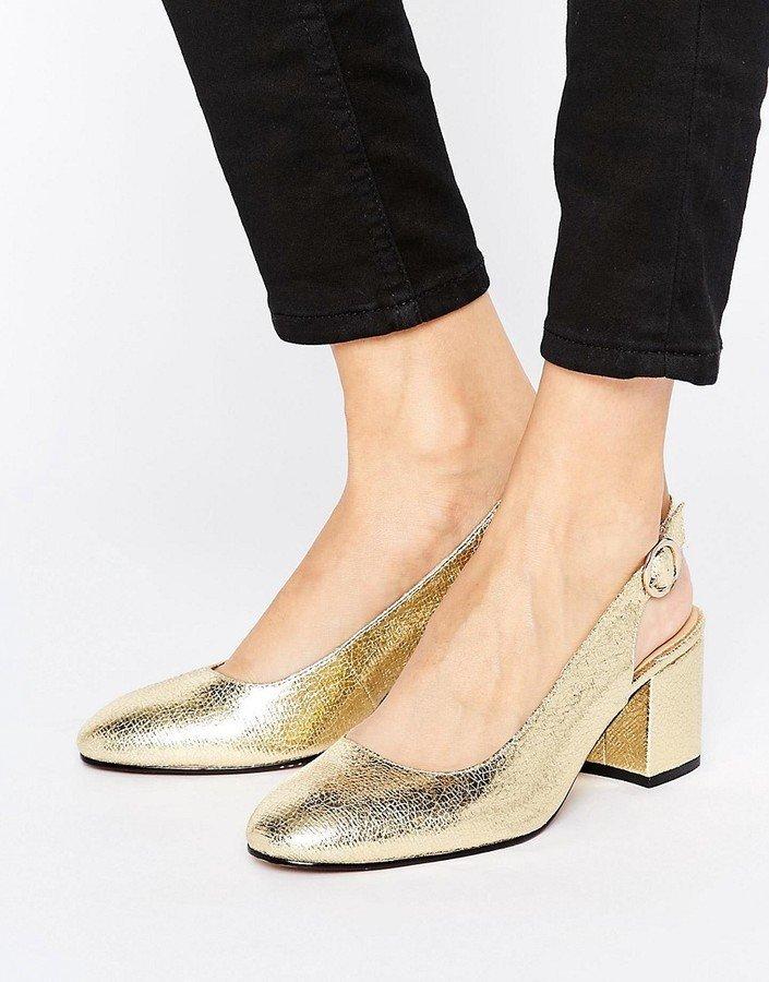 туфли с открытой пяткой золотые