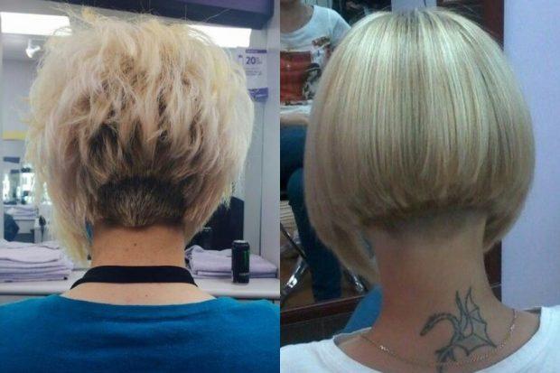 каре на ножке на волнистые волосы классическое