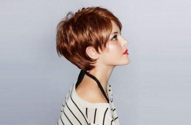 стрижка пикси медный цвет волос