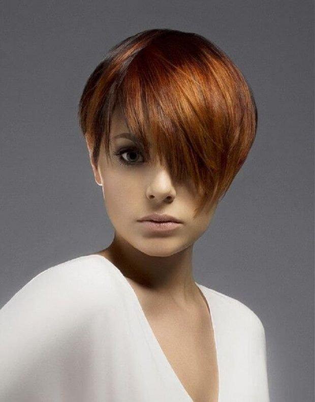 стрижка пикси рыжий цвет волос