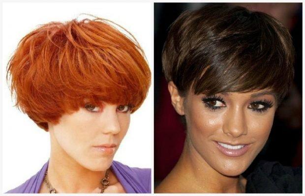 стрижка шапочка ярко-рыжий цвет волос пикси для брюнеток