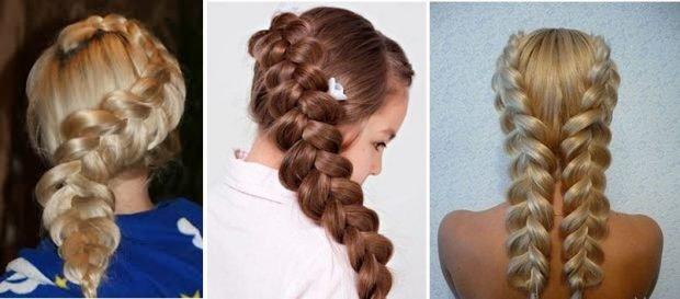 коса наоборот на всю длину волос