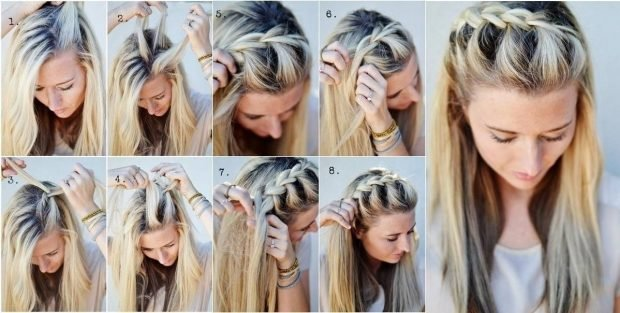 коса поперек головы