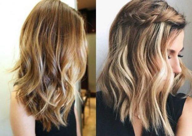 распущенные волосы с косой