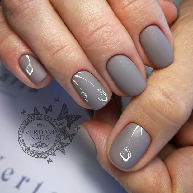 маникюр форма овал серый маникюр весна 2019