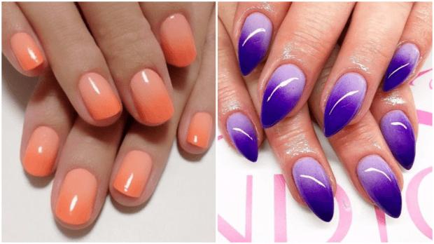 омбре оранжевое фиолетовое