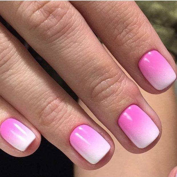 омбре розовое с белым