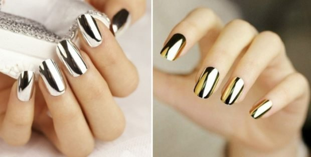 Металлический маникюр серебро золото