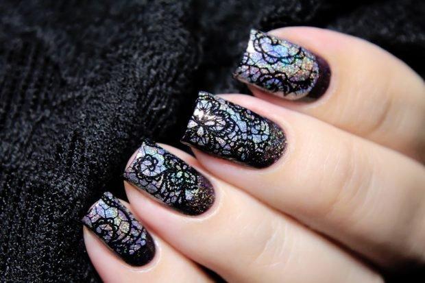 Маникюр кружевной черный с серебром