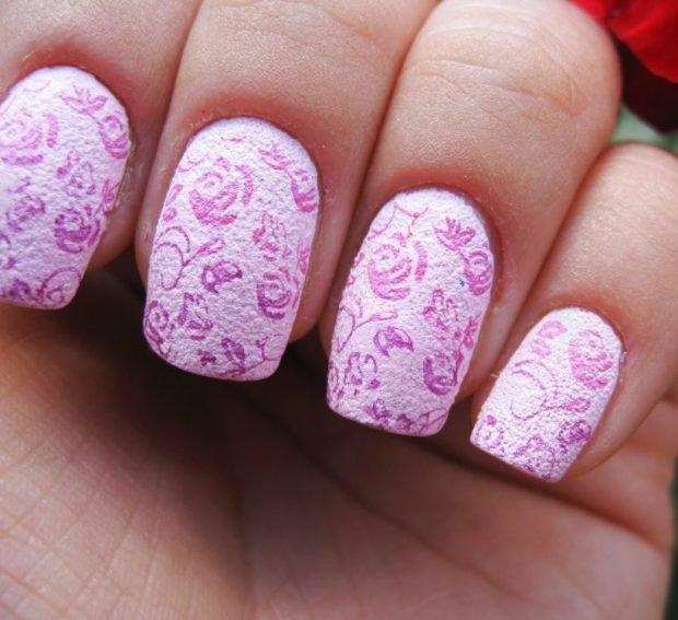 стемпинг розовый матовый