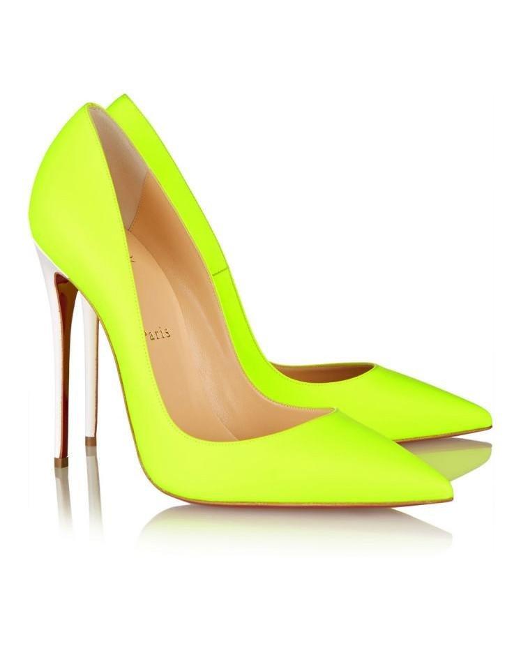 лабутены яркие салатовые острый носок