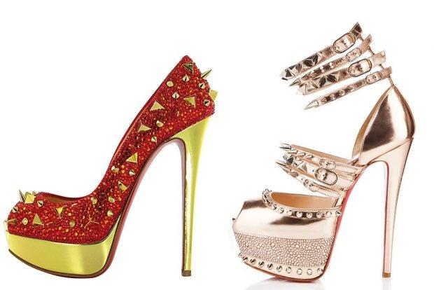 лабутены красные с золотом с шипами босоножки золотые