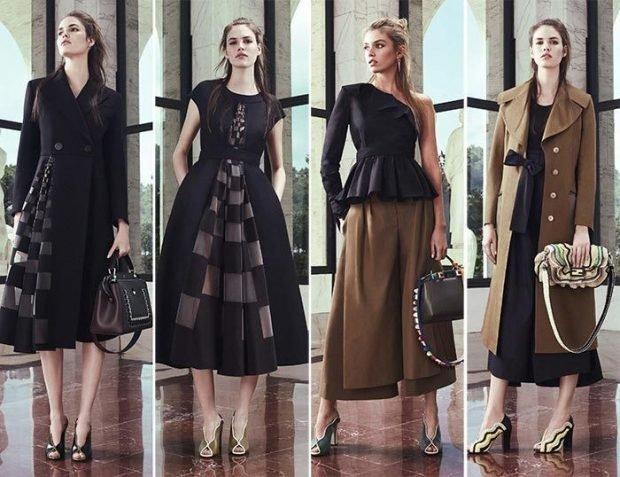 черное пышное платье в клеточку