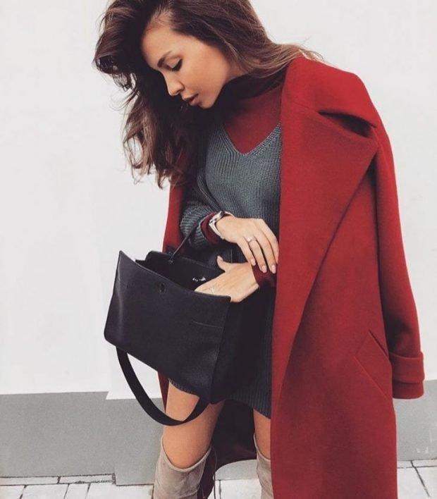 бордовое пальто длинное