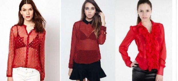 полупрозрачная блузка красного цвета