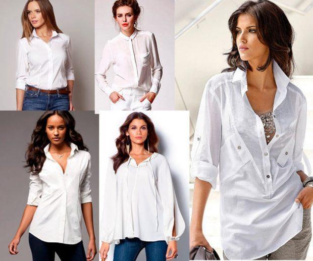 блузка-рубашка белого цвета