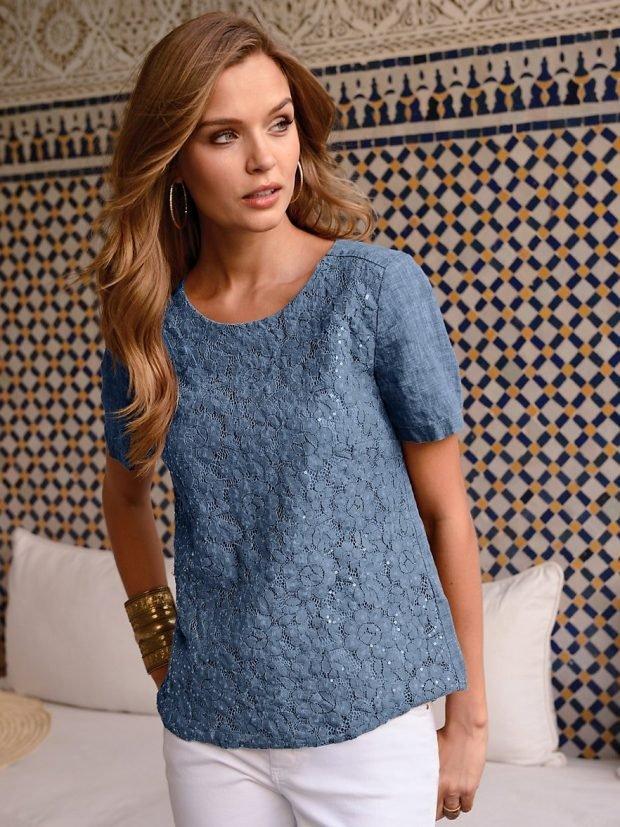 льняная блузка синего цвета