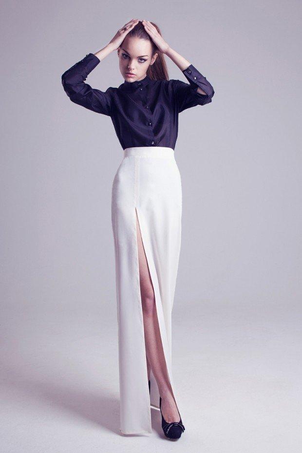 белая юбка макси с разрезом