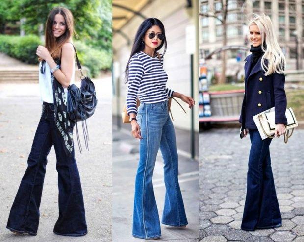 джинсы клёш синий и темно-синий