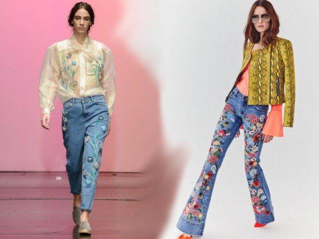 джинсы с вшитыми элементами
