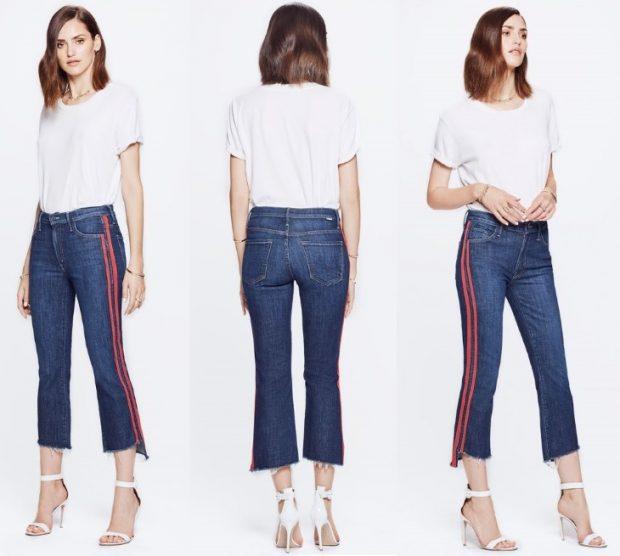 джинсы с лампасами, с полоской с боку