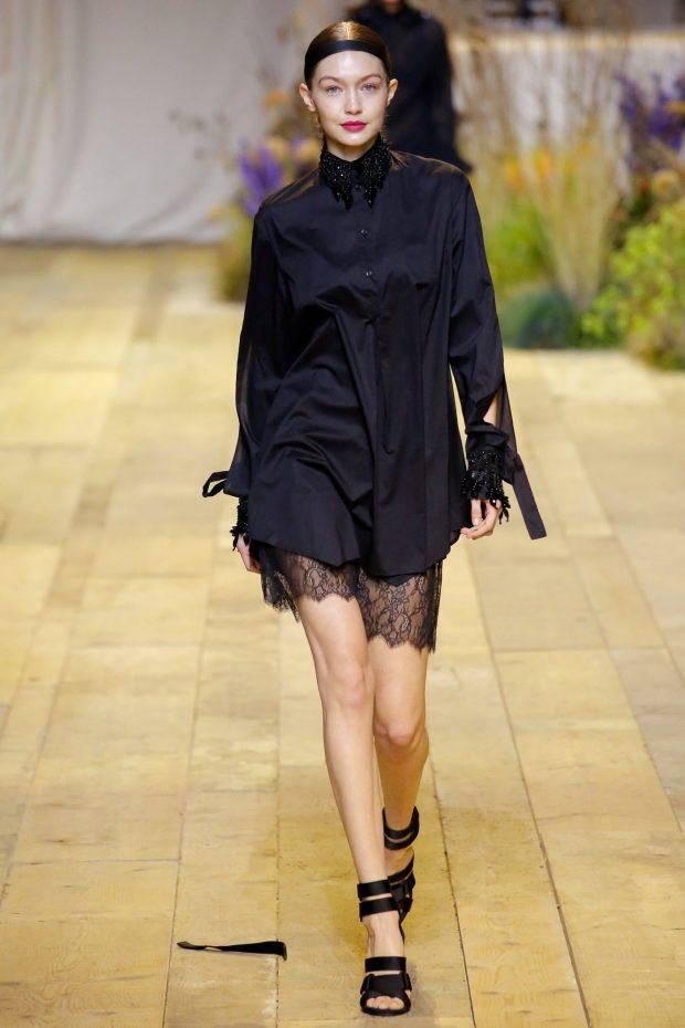 черное платье с кружевным низом