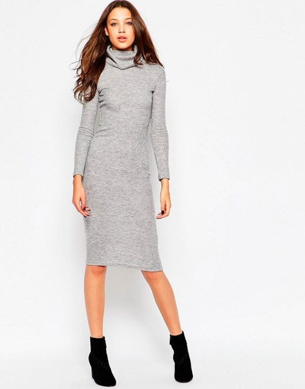 серая платье-водолазка