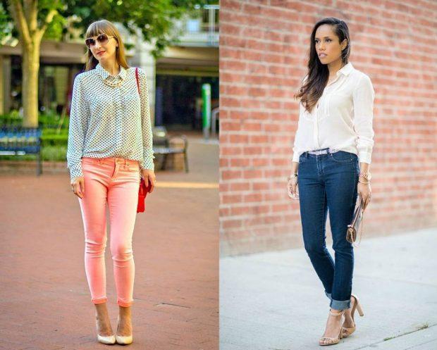 бирюзовая кофта,и розовые укороченные джинсы, белая блузка и джинсы