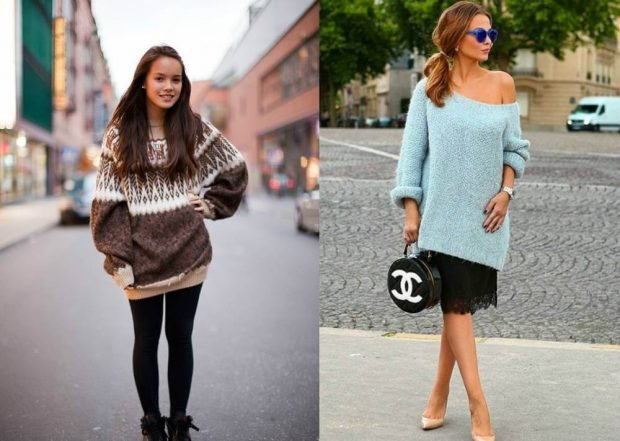 Мода весна лето 2021 для женщин за 30: свитер оверсайз под колготки черная юбка под голубой