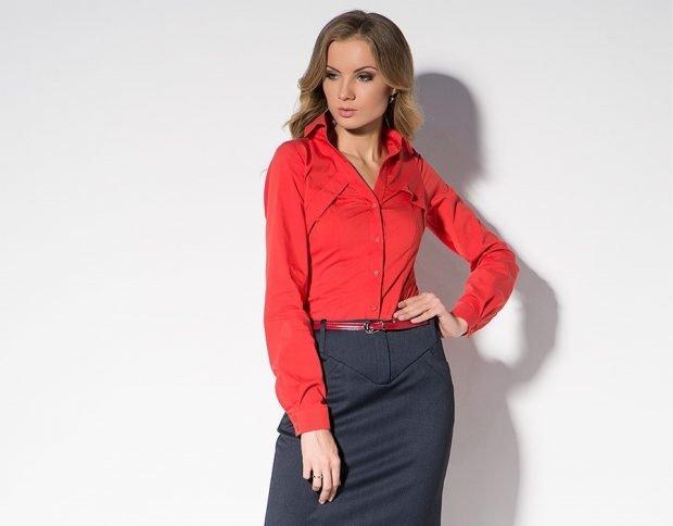 черная юбка под рубашку красную