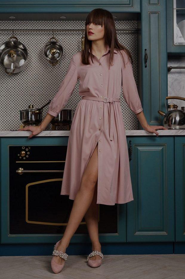платье-рубашка розовое