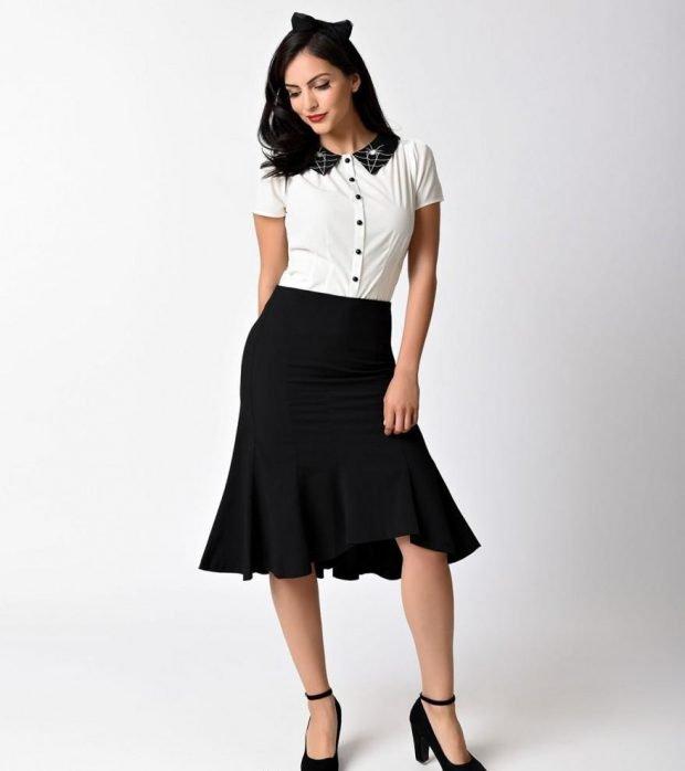 Мода весна лето 2019 для женщин за 30: черная юбка с воланами под блузку белую с коротким рукавом