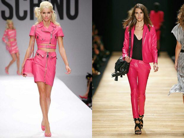 розовая юбка под жакет в тон розовый брючный костюм