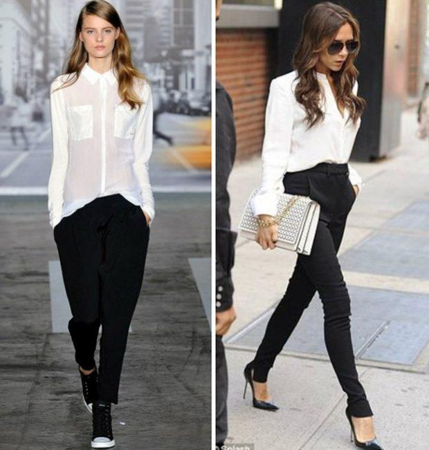 Мода весна лето 2019 для женщин за 30: черные брюки под белую блузку