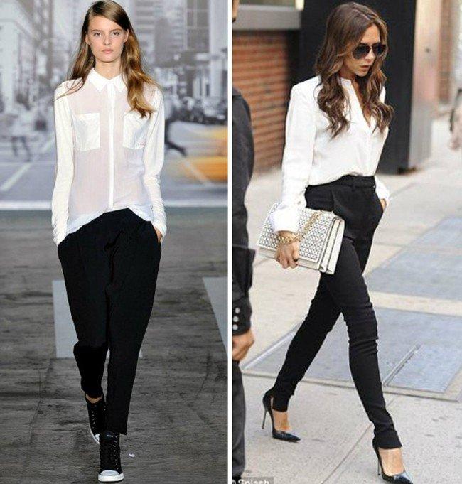черные брюки под белую блузку