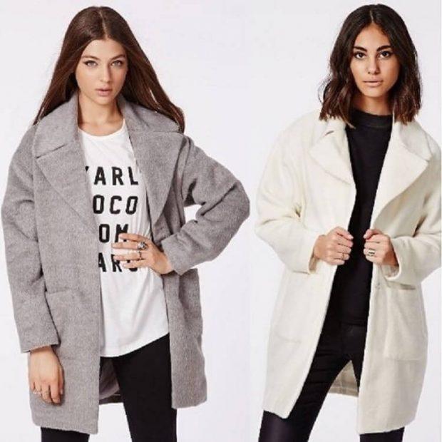 пальто-кокон серое пальто-кокон белое