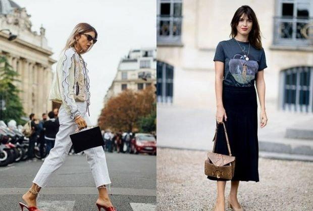 белые штаны короткие под жакет светлый черная юбка миди под футболку с принтом