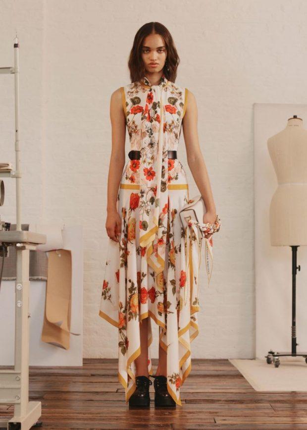 платье яркое в цветы асимметрия длина макси