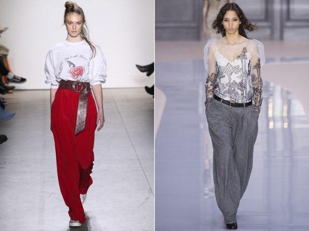 широкие штаны красные серые под блузки